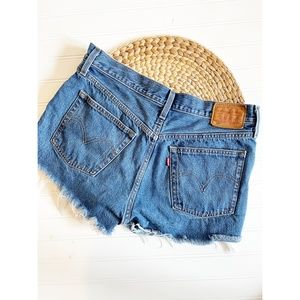 Levi's 501 Cut Off Denim Jean Shorts Medium Wash